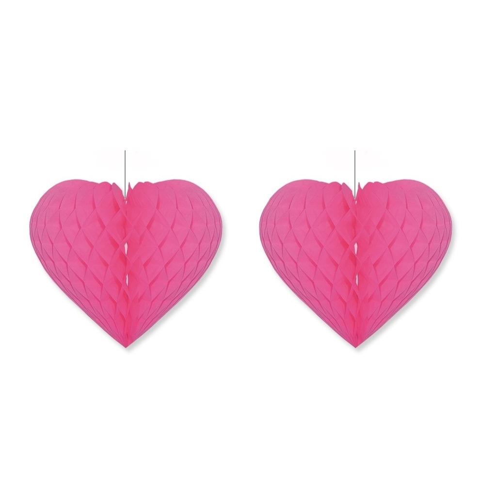 3x stuks fuchsia roze decoratie hartjes 28 cm
