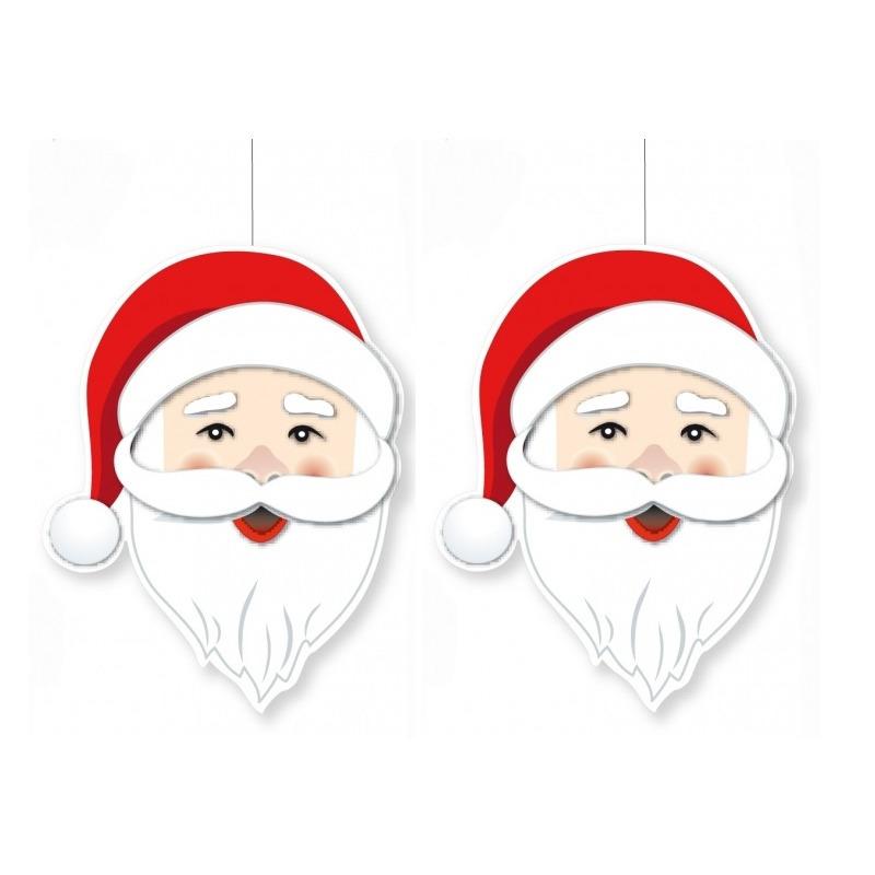 3x stuks kerst hangdecoratie kerstman hoofd 39 x 29 cm
