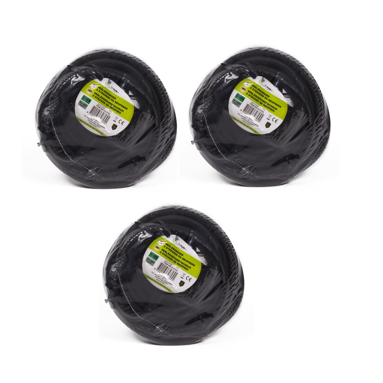 3x stuks verlengsnoer-kabel met 2 stopcontacten en klepjes zwart 10m randaarde binnen-buiten