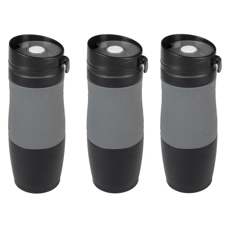 3x Thermosbekers-warmhoudbekers grijs-zwart 380 ml