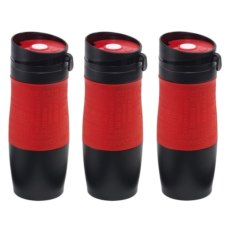 3x Thermosbekers-warmhoudbekers rood-zwart 380 ml
