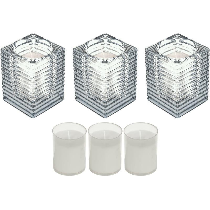 3x Transparante kaarsenhouders met kaars en 3x navullingen