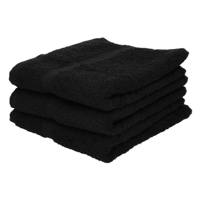 3x Voordelige badhanddoeken zwart 70 x 140 cm 420 grams