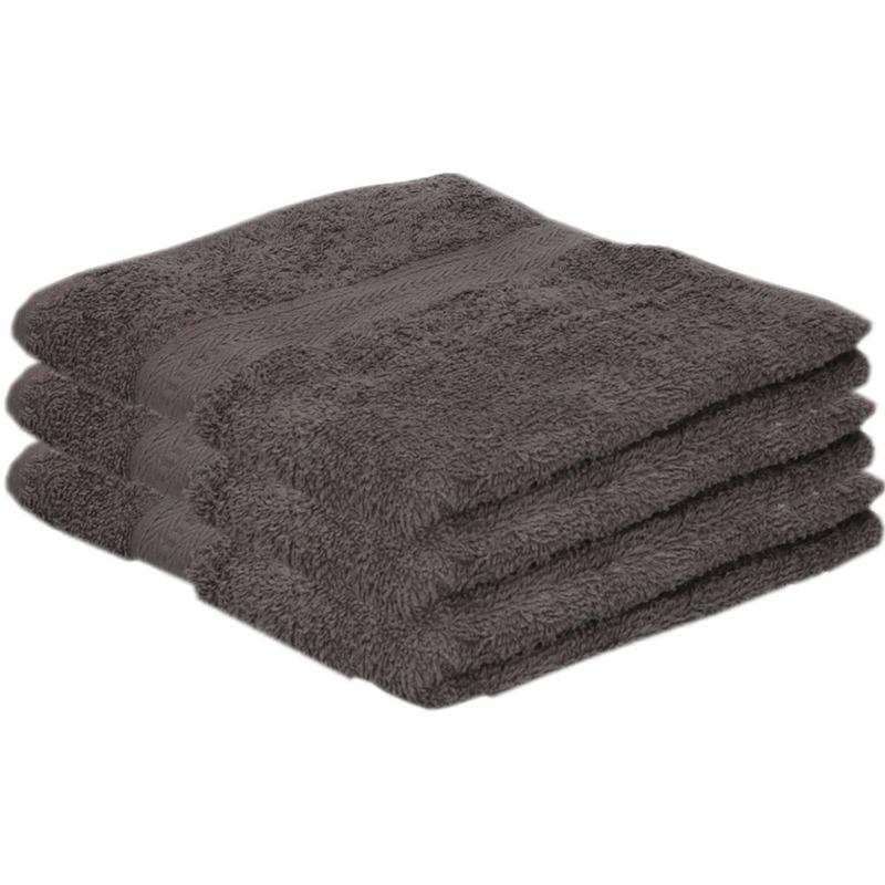 3x Voordelige handdoeken grijs 50 x 100 cm 420 grams