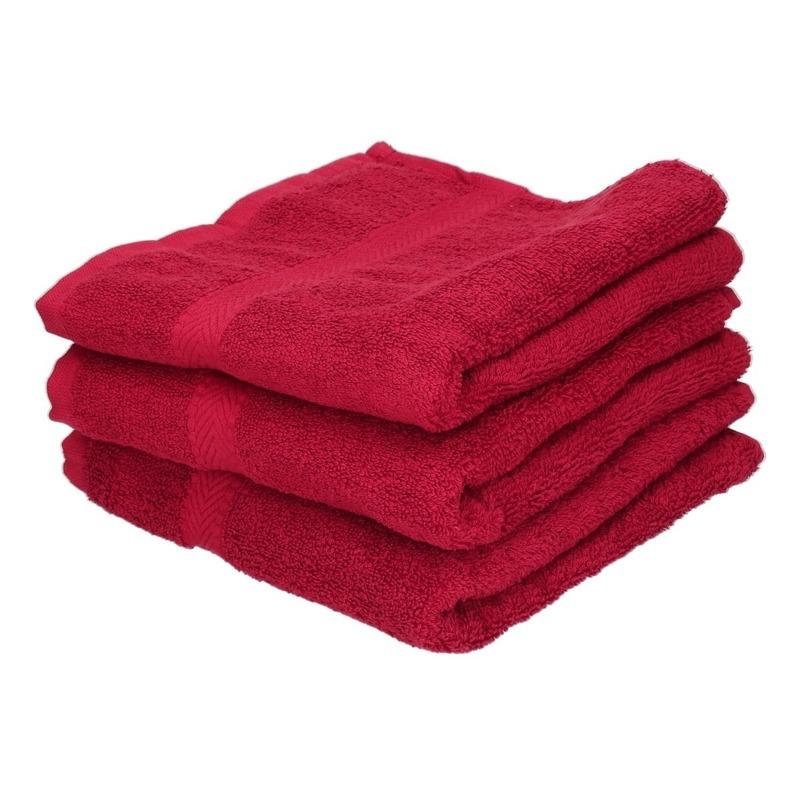 3x Voordelige handdoeken rood 50 x 100 cm 420 grams