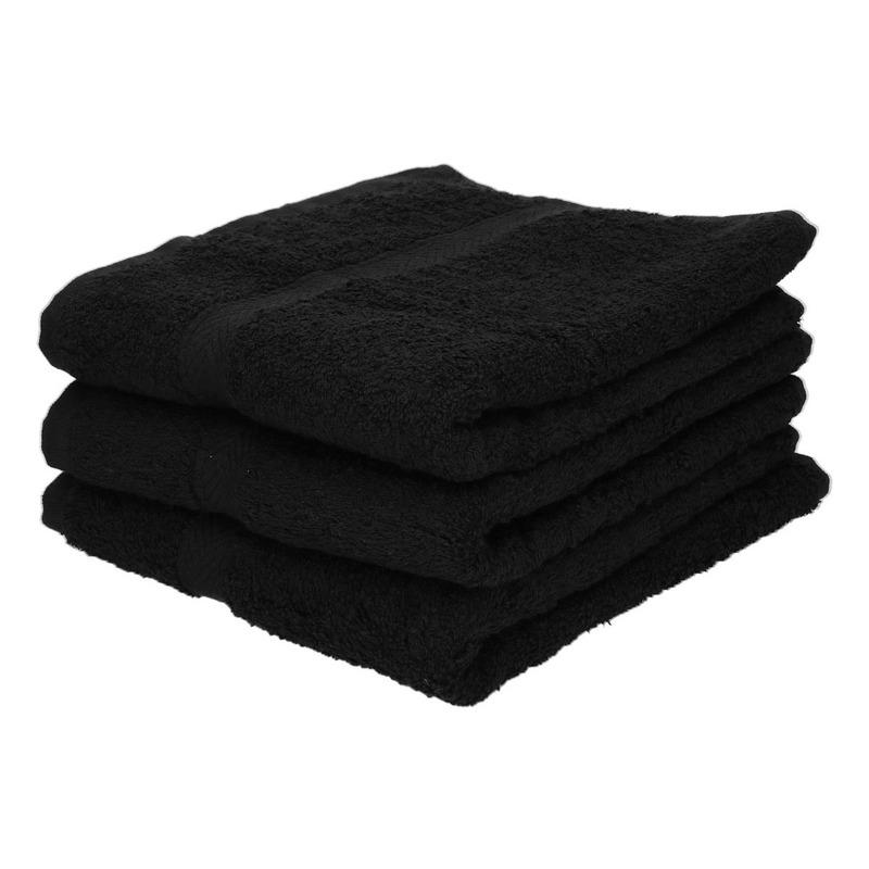 3x Voordelige handdoeken zwart 50 x 100 cm 420 grams