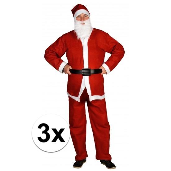 3x Voordelige Santa Run kerstman kostuums voor volwassenen