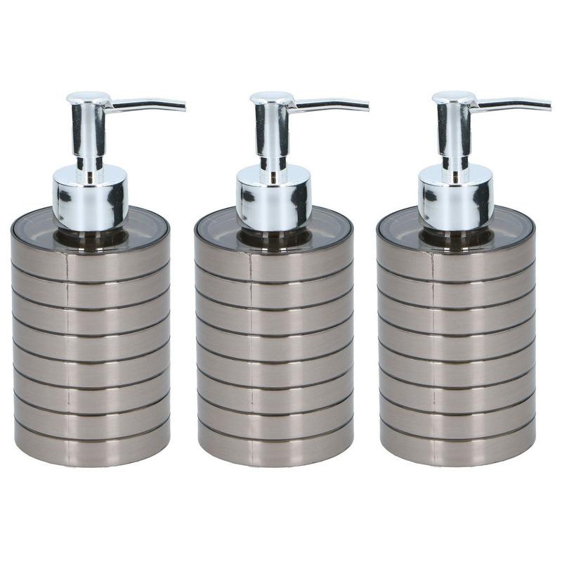 3x Zeeppompjes-zeepdispensers 300 ml zilver