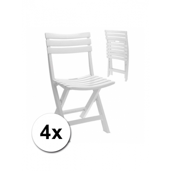 4 Stuks witte kunststof klapstoelen voor binnen en buiten