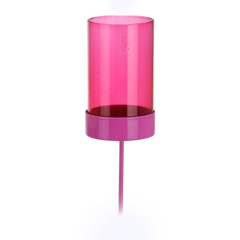 4 x Roze tuin kaarsenhouders 38 cm