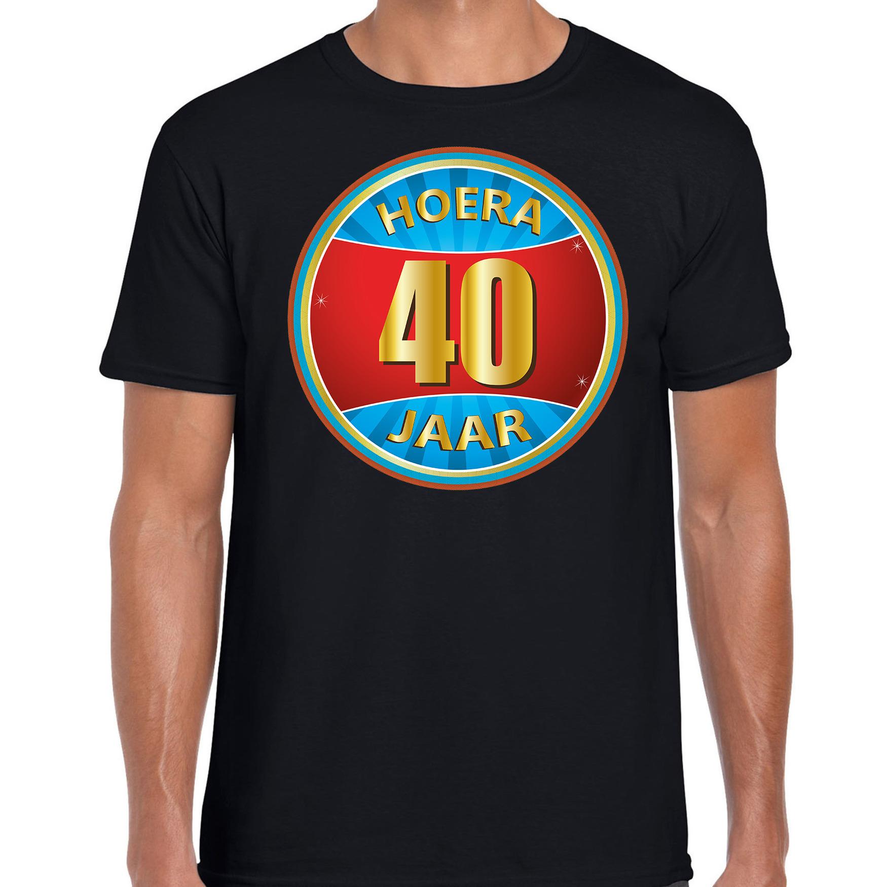 40e verjaardag cadeau t shirt hoera 40 jaar zwart voor heren