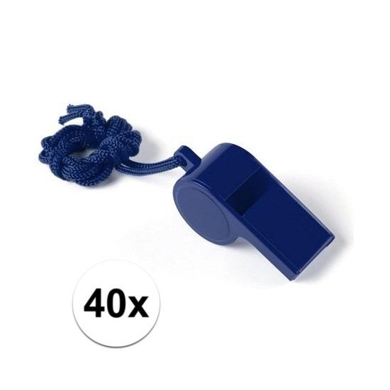 40x Blauw fluitje aan koord