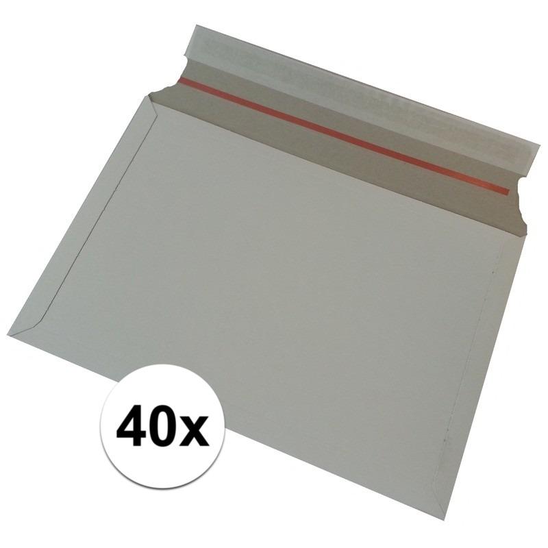 40x Kartonnen enveloppen wit 38 x 26 cm