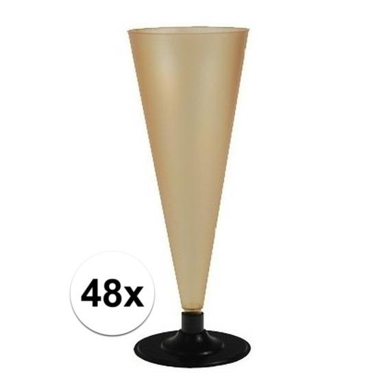 48 x Champagne glazen goudkleurig Goudkleurig