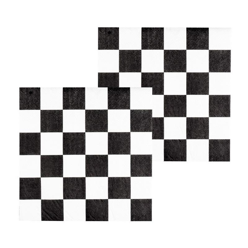 48x Finish auto racing servetten zwart-wit geblokt