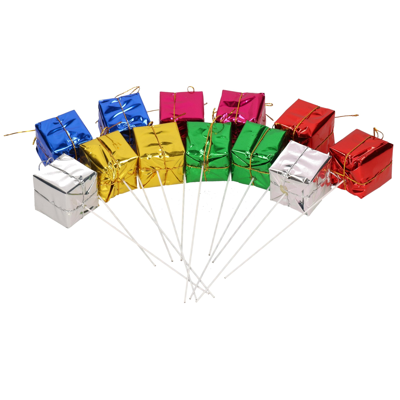 48x Kerststukje instekers met gekleurde cadeautjes 4 cm