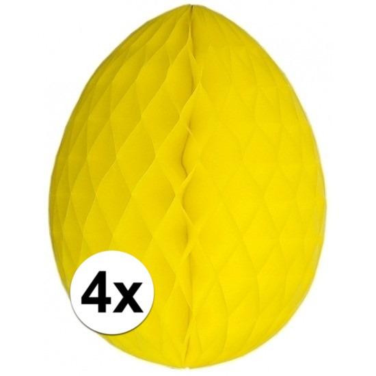 4x Decoratie paasei geel 20 cm