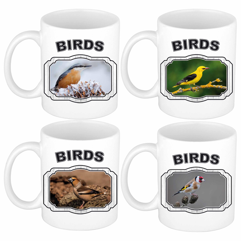 4x Dieren tuin vogels prints drink mokken 300 ml