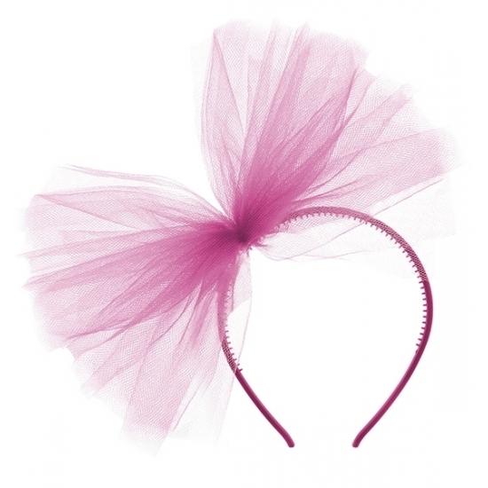 4x Fuchsia roze tule haarband voor dames