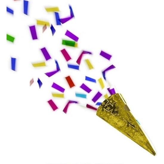 4x Gouden partypopper met folie confetti