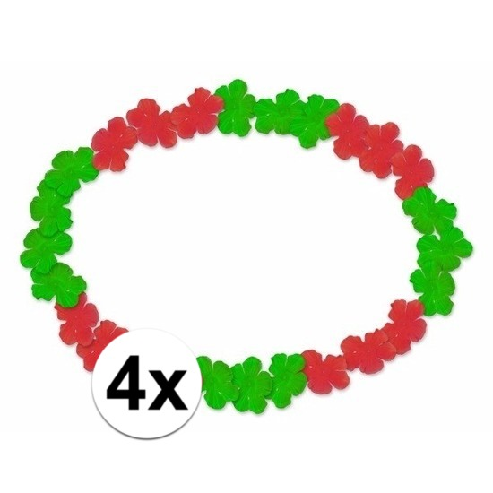 4x Hawaii kransen rood/groen