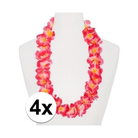 4x Hawaii kransen roze/oranje