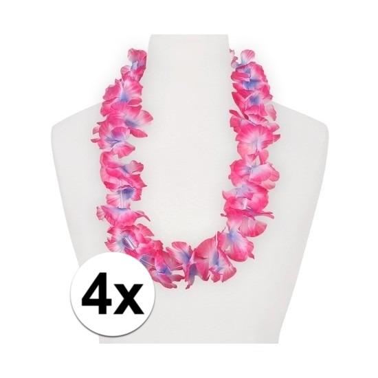 4x Hawaii kransen roze/paars