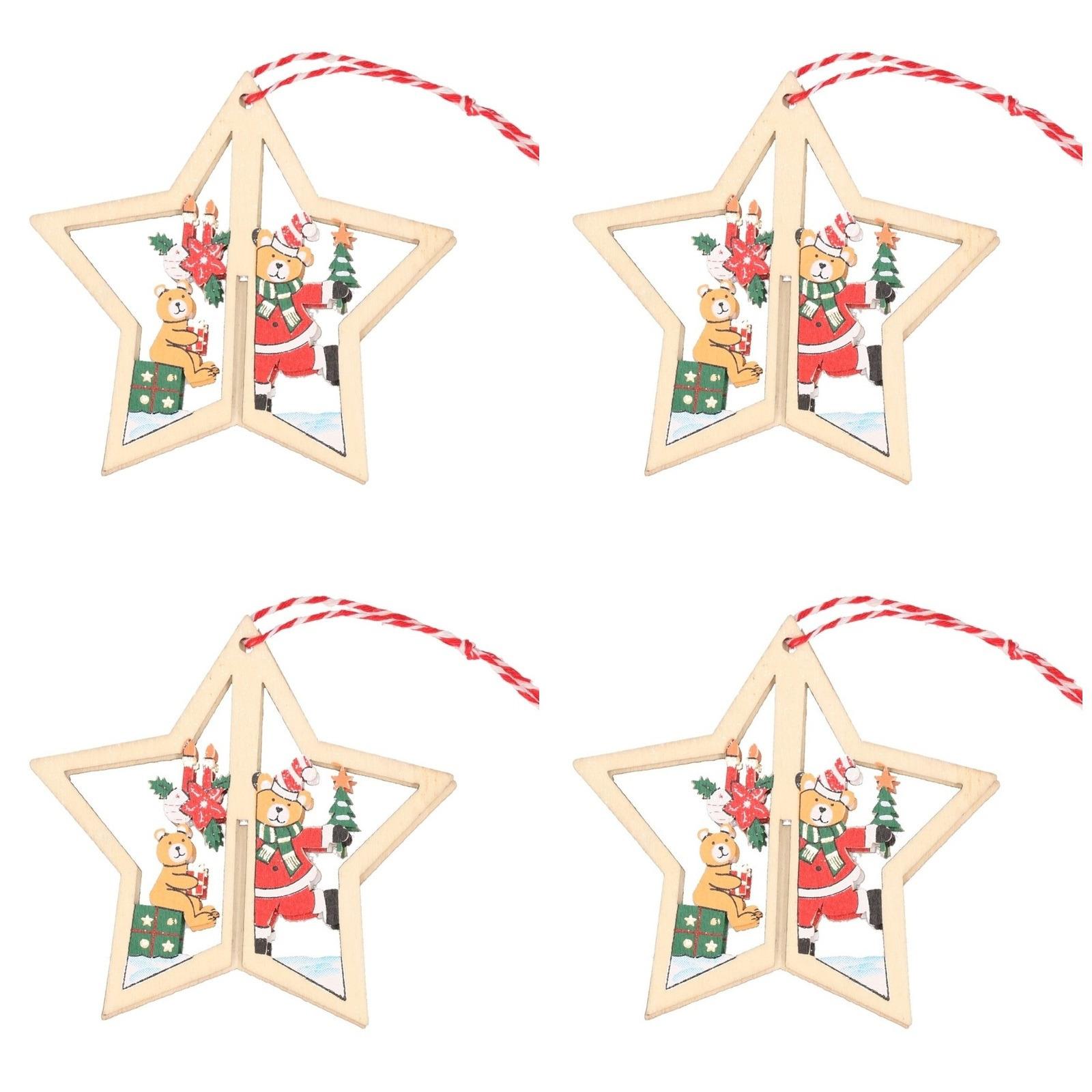 4x Houten sterren met beren kerstversiering hangdecoratie 10 cm