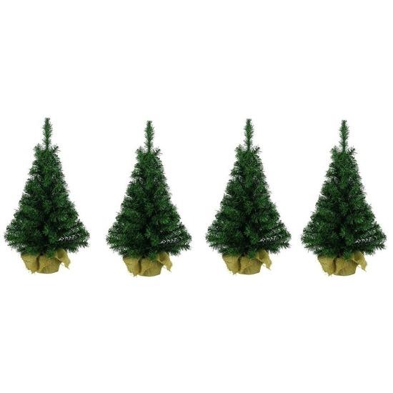4x Kleine kerstboom in jute zak 75 cm