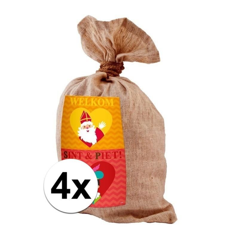 4x Medium jute kadozak Sinterklaas 50x80 cm