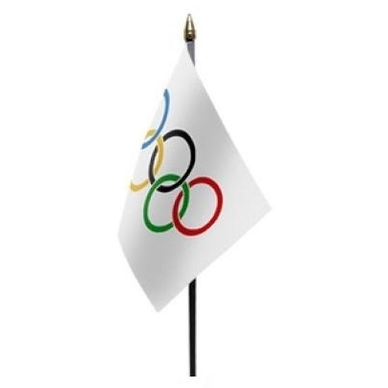 4x Olympische Spelen mini vlaggetje op stok 10 x 15 cm
