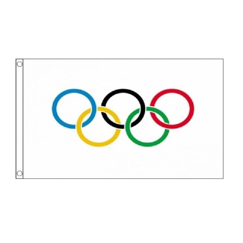 4x Olympische vlaggen 90 x 150 cm