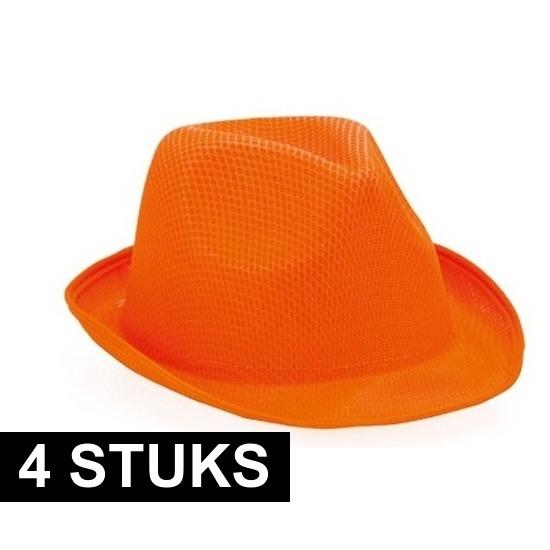 4x Oranje trilby verkleed hoedjes voor volwassenen