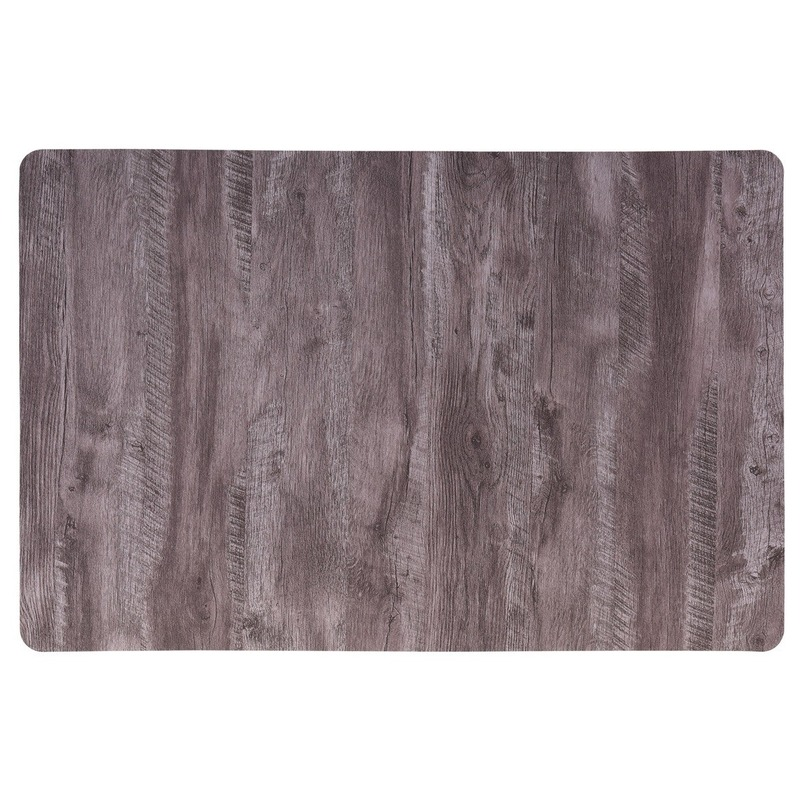 4x Placemat donkerbruin hout print 44 cm