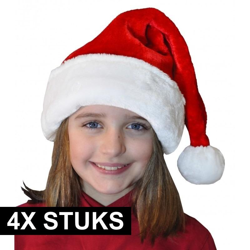 4x Pluche luxe kerstmutsen rood/wit voor kinderen