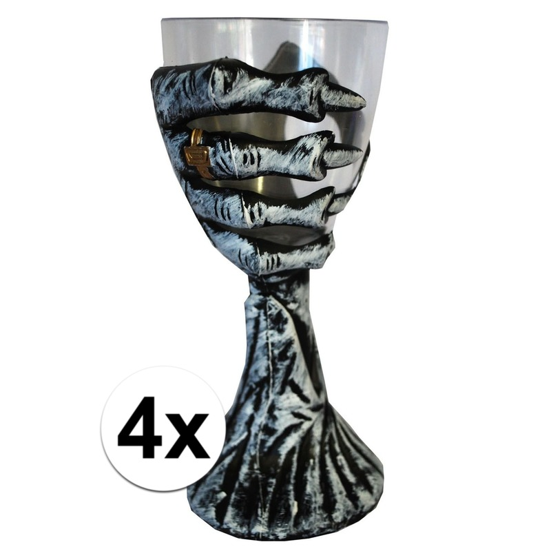 4x Skelet hand Halloween drinkbekers 20 cm