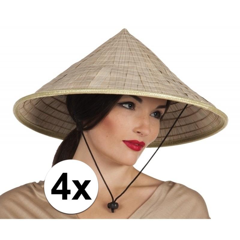 4x stuks Aziatische rijstpan strohoeden Beige