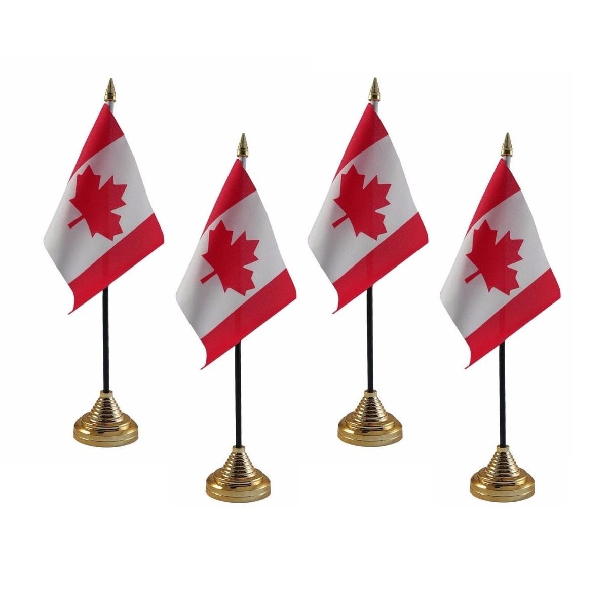 4x stuks Canada tafelvlaggetjes 10 x 15 cm met standaard