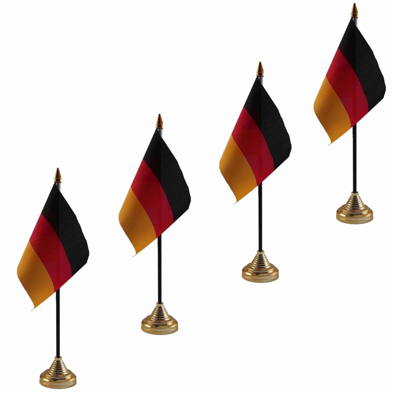 4x stuks duitsland tafelvlaggetjes 10 x 15 cm met standaard