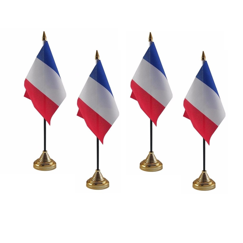4x stuks Frankrijk tafelvlaggetje 10 x 15 cm met standaard