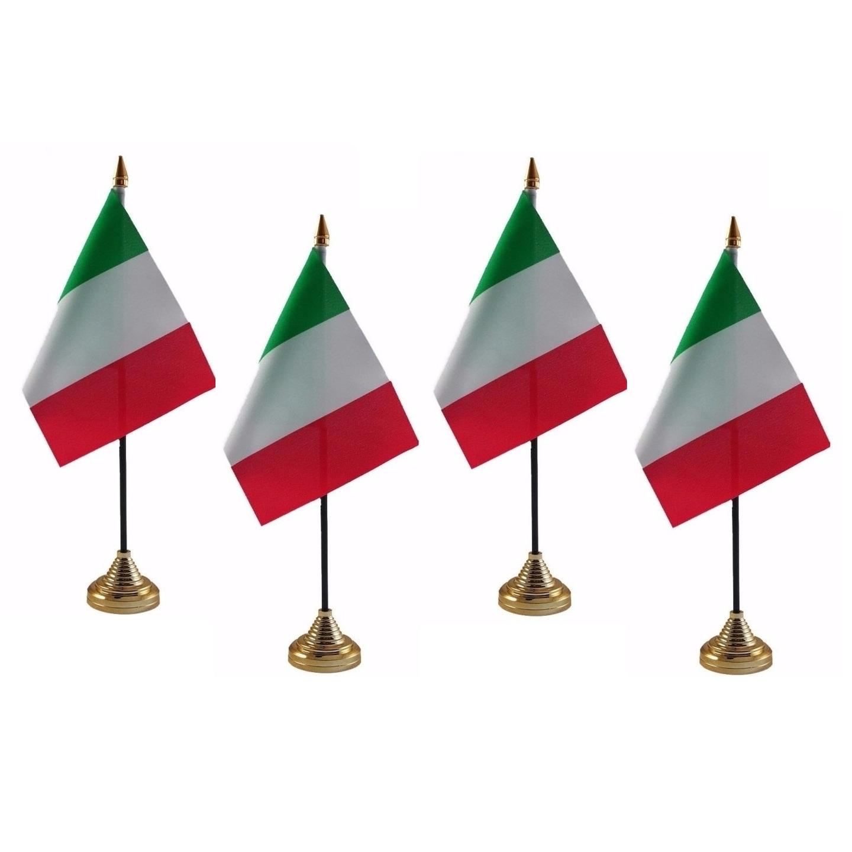 4x stuks italie tafelvlaggetje 10 x 15 cm met standaard