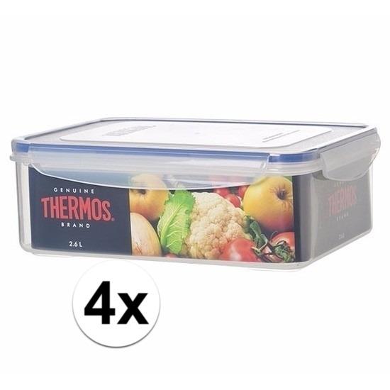 4x stuks Thermos airtight vershoud doosjes bakjes van 2.6 liter