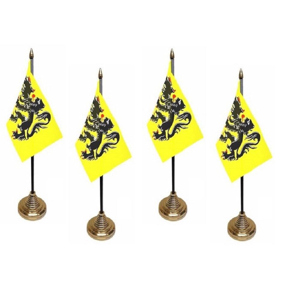 4x stuks vlaanderen tafelvlaggetje 10 x 15 cm met standaard