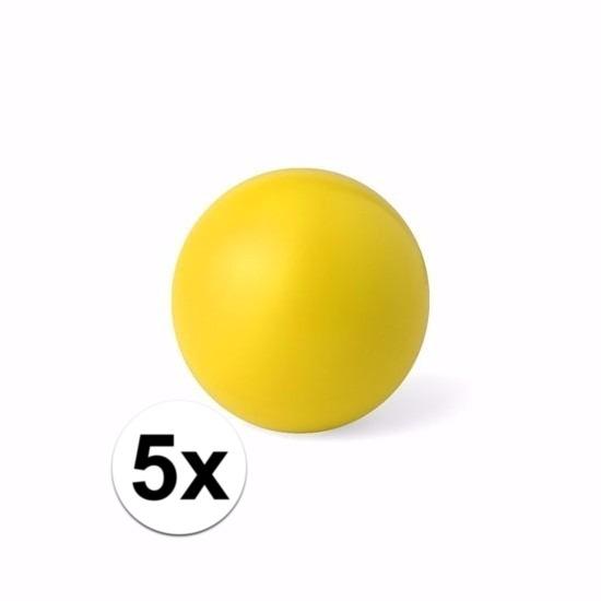 5 gele anti stressballetjes 6 cm