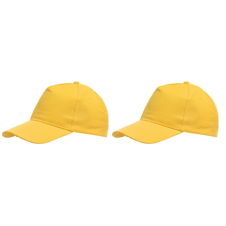 5-panel baseballcap geel met klittenbandsluiting voor volwassenen 10 stuks