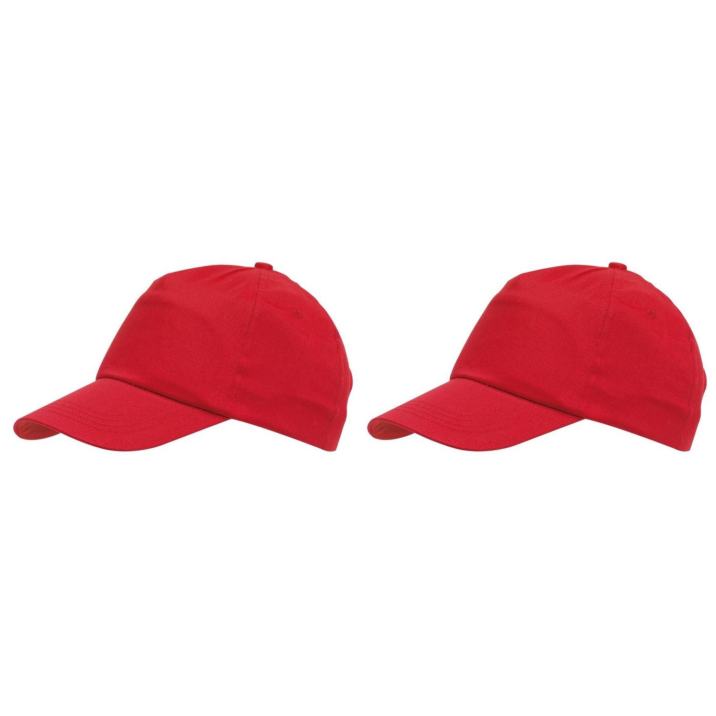 5-panel baseballcap rood met klittenbandsluiting voor volwassenen 10 stuks