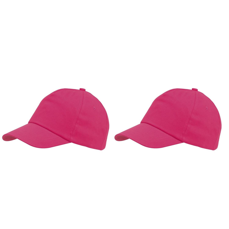 5-panel baseballcap roze met klittenbandsluiting voor volwassenen 10 stuks