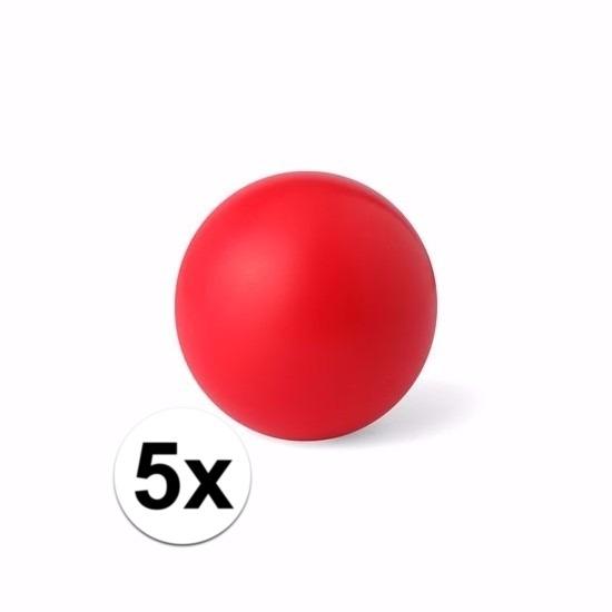 5 rode anti stressballetjes 6 cm