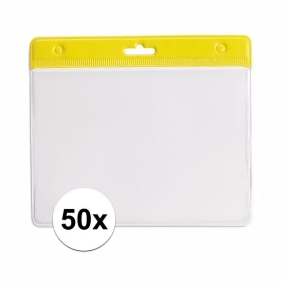 50 badgehouders geel 11,5 x 9,5 cm