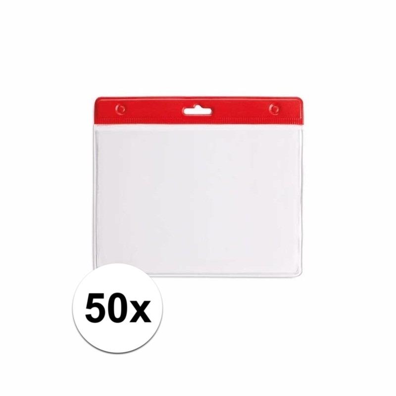 50 badgehouders rood 11,5 x 9,5 cm